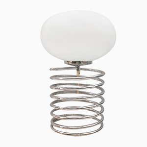 Chromed Spiral Table Lamp with Oval Shade in Opaline Glass, 1960s
