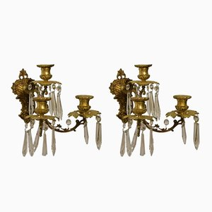 Antique Gilded Bronze Wall Candleholders, Set of 2