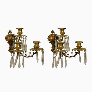 Portacandele antichi in bronzo dorato, set di 2