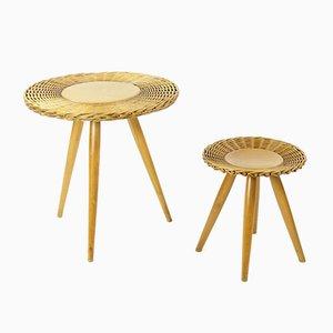 Tavolino da caffè in vimini con sgabello di Úluv, anni '60
