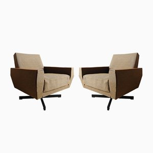 Teak & Cotton Lounge Chairs, 1960s, Set of 2