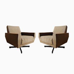 Teak & Cotton Lounge Chairs, 1960s, Set of 2
