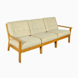 Skandinavisches Mid-Century Sofa in cremefarbener Wolle, 1960er