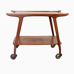 Mid-Century Teak Serving Cart on Wheels