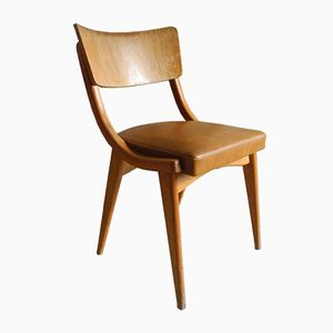 Brown Leatherette & Beech Kitchen Chair, 1950s