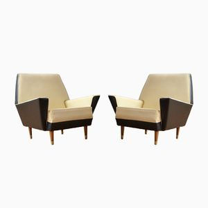 Skai & Wood Armchairs from Medal, 1950s, Set of 2