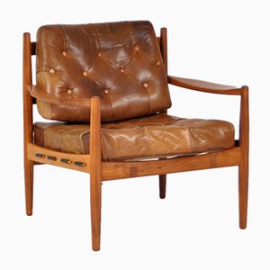 Mid-Century Mahogany & Leather Easy Chair by Ingemar Thillmark