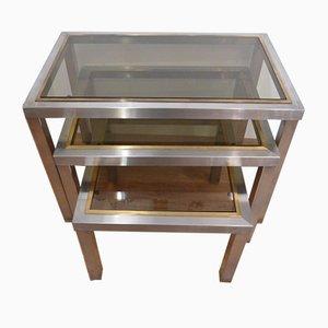 Mesas nido de aluminio cepillado, latón y vidrio ahumado, años 70