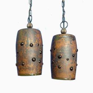 Brutalistische Kupfer Deckenlampen von Nanny Still für Philips, 1960er, 2er Set