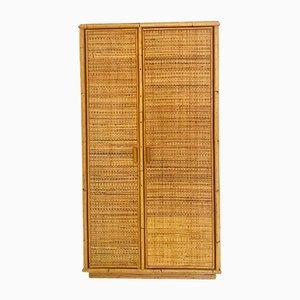 Italian Rattan 2-Door Cabinet, 1960s