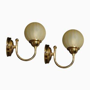 Applique in ottone e vetro di Murano, anni '80, set di 2