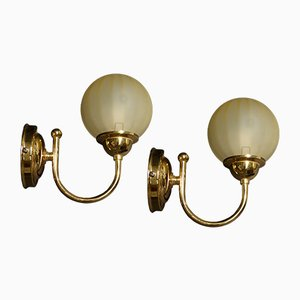 Brass & Murano Glass Sconces, 1980s, Set of 2