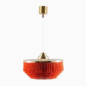 Lámpara colgante sueca de latón con flecos de seda de Hans-Agne Jakobsson, años 60