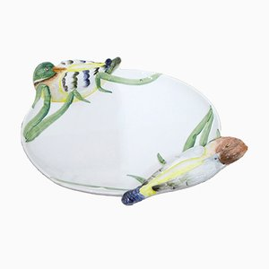 Large Earthenware Dish by VBC for Cre Art Treviso, 1950s