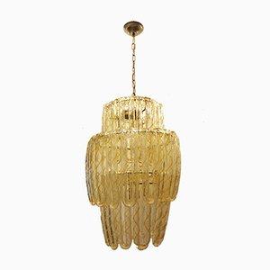 Lámpara de araña de hierro dorado y vidrio coloreado de Mazzega, años 70