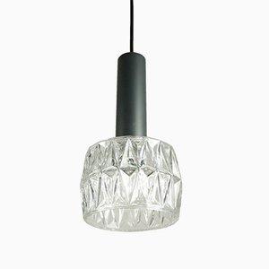 Lámpara colgante modelo 4025-134 de vidrio y metal cromado de Hillebrand Lighting, años 60