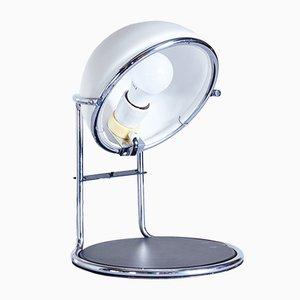 Lámpara de mesa redonda de metal cromado y vidrio escarchado, años 70