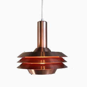 Lampe à Suspension Modèle 705 Vintage Plaqué Cuivre de Lyskaer, Danemark, 1969
