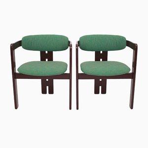 Grüne Modell Pigreco Armlehnstühle von Tobia Scarpa für Gavina, 1957, 2er Set