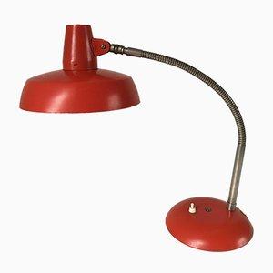 Lampada da scrivania vintage industriale rossa di SIS, anni '50