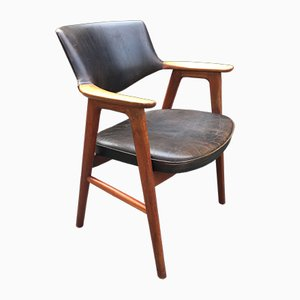 Oak & Black Leather Desk Armchair by Erik Kirkegaard, 1960s