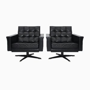 Black Leather Swivel Chairs by Johannes Spalt, 1960s, Set of 2