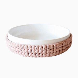 Recipiente basso Duo in ceramica rosa e tessuto di Artful casacontemporanea