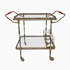 Crystal & Brass Serving Trolley, 1960s