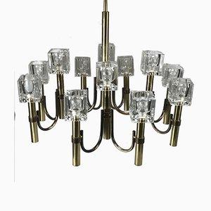 Lámpara de araña modernista vintage de latón y vidrio imitando cubitos de hielo