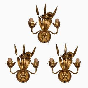 Hollywood Regency Wheat Brass Sconces, 1970s, Set of 3