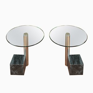 Marble and Glass Side Tables by Hank Kwint for Metaform, 1980s, Set of 2