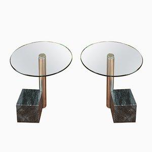 Mesas auxiliares de mármol y vidrio de Hank Kwint para Metaform, años 80. Juego de 2