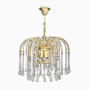 Brass & Glass Waterfall Chandelier by Christoph Palme, 1970s