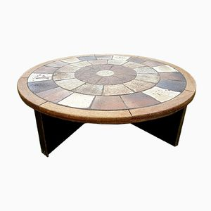 Danish Circular Coffee Table by Tue Poulsen for Haslev, 1960s