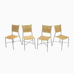Chaises de Salle à Manger en Osier & Métal de Erlau, 1960s, Set de 4