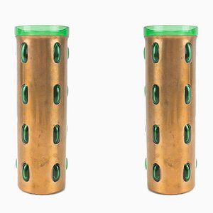 Cylindrical Mid-Century Copper Vases with Turquoise & Green Glass by Nanny Still for Raak