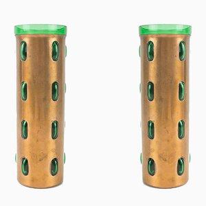 Vasi cilindrici Mid-Century in rame e vetro turchese e verde di Nanny Still per Raak