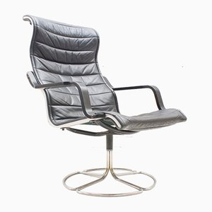 Black Leather Lounge Chair by Bruno Mathsson for Dux, 1960s