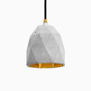 [T1] Concrete Triangular Pendant Light with Metallic Interior by Stefan Gant for GANTlights