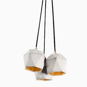 [T2] Concrete & Gold Triangular Bundle Pendant Light by Stefan Gant for GANTlights
