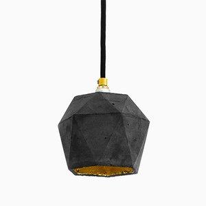 Lampe à Suspension [T2] Triangulaire en Béton Foncé & Or par Stefan Gant pour GANTlights