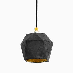 [T2] Dark Concrete & Gold Triangular Pendant Light by Stefan Gant for GANTlights