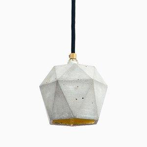 Lampe à Suspension [T2] Triangulaire en Béton & Or par Stefan Gant pour GANTlights