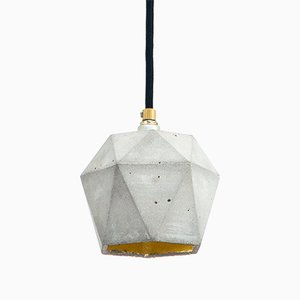 [T2] Concrete & Gold Triangular Pendant Light by Stefan Gant for GANTlights