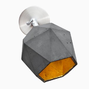 [T2] Dark Concrete & Gold Triangular Wall Spotlight by Stefan Gant for GANTlights