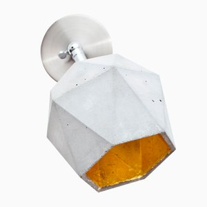 [T2] Concrete & Gold Triangular Wall Spotlight by Stefan Gant for GANTlights