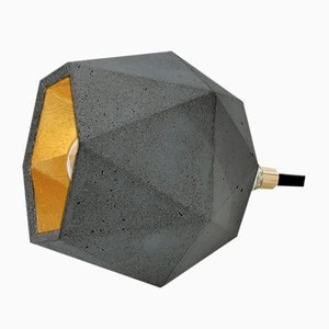 [T2] Dark Concrete & Gold Floor Light by Stefan Gant for GANTlights