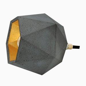 [T2] Stehlampe aus dunklem Beton & Gold von Stefan Gant für GANTlights