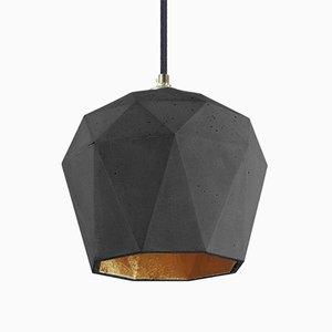 Lampe à Suspension [T3] Triangulaire en Béton Foncé & Or par Stefan Gant pour GANTlights
