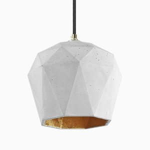 [T3] Light Concrete & Gold Triangular Pendant Light by Stefan Gant for GANTlights